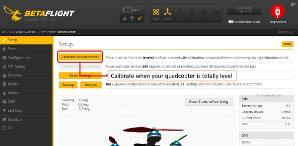 cara kalibrasi drone betaflight