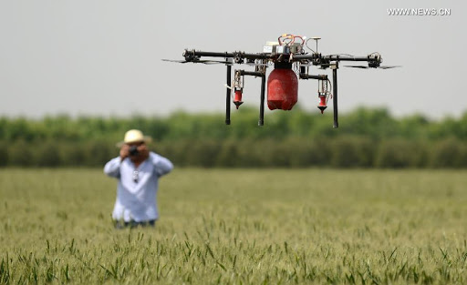 (Petani yang mulai menggunakan teknologi drone / Gambar : china.org.cn)