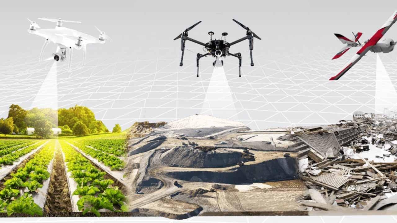 Berbagai fungsi pemetaan oleh drone   Gambar : Geospatial World